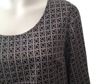 Silk Patterned Black and White Vintage Dress (Size Large)