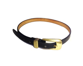 Vintage Navy Cowhide Leather Coach Belt with Brass Buckle - Size Medium