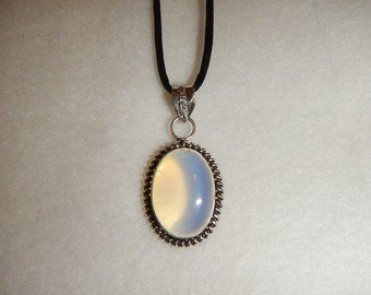Oval shaped Opalite pendant necklace (P447)