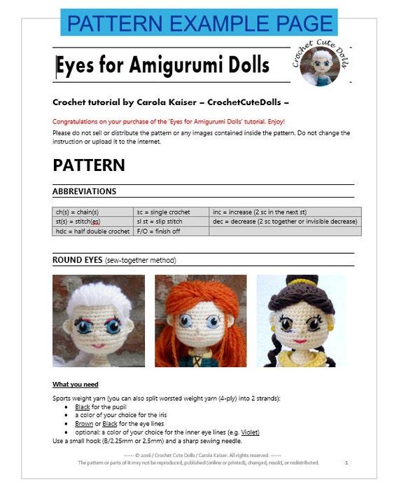 Doll Eyes For Amigurumi : EYES for Amigurumi Dolls - Amigurumi Pattern Crochet Doll ...