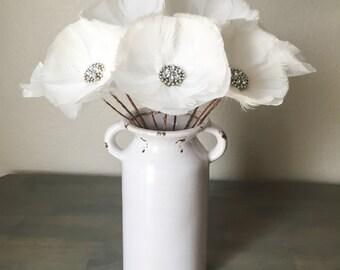 Rhinestone Feather Flower Stemmed - Bridal Bouquet Alternative - Wedding - Home Decor - Floral Arrangement - Table Centerpiece - Elegant
