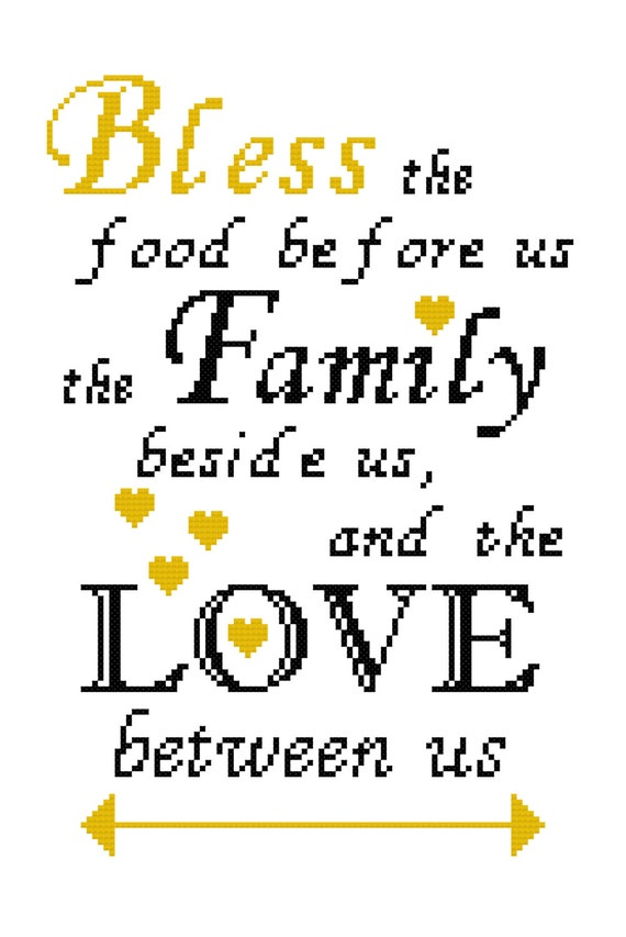 Kitchen Cross Stitch Sampler Bless The Food Before Us