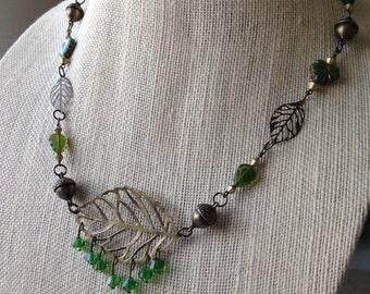 Forest Floor Woodland Leaf Necklace