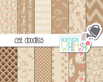 Cat Lovers Digital Paper - hand drawn seamless cat patterns in tan, taupe & pink - cat scrapbook paper - printbable paper - commercial use