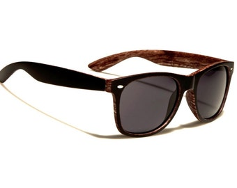 WOODGRAIN BLACK SUNGLASSES California Wayfarer Style, Optional Customizable Sides - Unique Valentine's Gift His/Hers