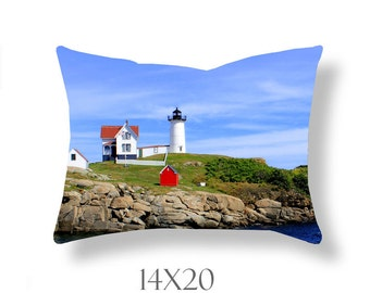 Lighthouse Pillow Cover-Coastal Maine Landscape-Photo Throw Pillow-Square/Rectangular Toss Pillow-Cape Neddick-Nubble Light-New England
