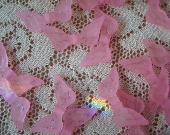 32 Cotton Candy Pink Frosted Angel Wings. Translucent Pink Bird Wings.  Acrylic. 20mm x 10mm  ~USPS Standard Ship Rates from Oregon