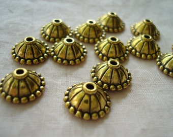 Promotion! 30 Big Golden Bali Circus Dome Caps. 10x5mm. Beautiful Antiqued Finish. Simple, Lovely and Unique!  ~USPS Ship Rates -from Oregon