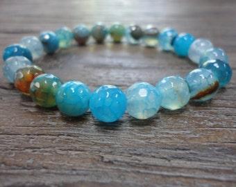 Aqua Agate/Beaded Bracelet/Aqua Blue