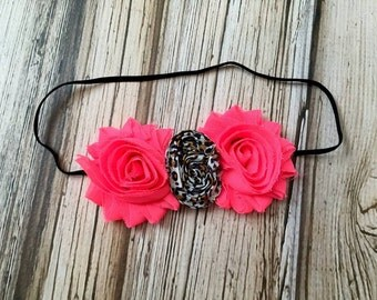 Hot Pink and Leopard Flower Headband for Baby Toddler and Girls