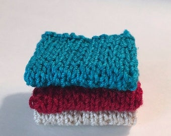 Miniature Faux Shelf Blankets - Shabby Chic Hand Knitted - Stack of 3 - Peacock, Red, Ecru