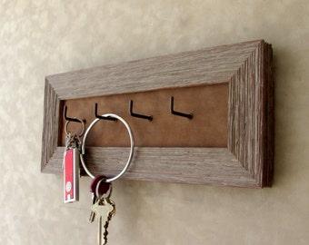 Barnwood Keyholder, Distressed Keyhooks, GreyDistressed,RusticWood Frame, Rustic KeyHooks, Gray Rustic keyholder, Housewarming Gift