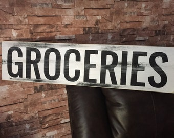 Groceries Farmhouse Rustic Country Fixer Upper Style Farm House Wood Sign 30 inches long!