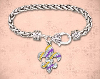 Purple and Gold Fleur De Lis Clasp Bracelet - 54664