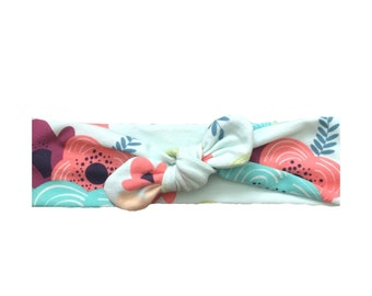Springtime floral // one size // tie on // top knot // headband // adult headbands // kid headbands // baby headbands