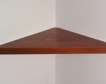 24 Inch Floating Corner Shelf with Cognac Stain Handmade in the USA