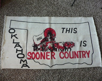 FREE SHIPPING! Vintage Oklahoma Sooners Rug Boomer Sooner Tapestry * Sooner Country 1892 Land Run