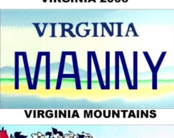 Personalized Virginia Refrigerator Magnet State License Plate Replica