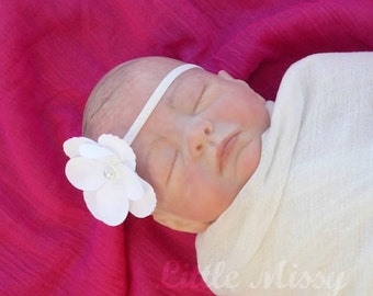 BABY HEADBAND, Baby Flower Headband, Hydrangea Flower Headband, Photography Prop, White Headband, Pink Headband, Pearl Headband, Baby Shower