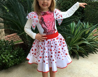 Valentine's  Day Dress Red Riding Hood Dress for Girls Size 1T,2T,3T,4,5,6,7,8,9,10Y