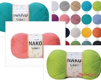 Mercerized cotton yarn, knitting yarn, crochet yarn, summer yarn,  NAKO Solare, Turkish Yarn, baby yarn