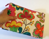 Floral Print Cosmethic Bag - Double Bags - Holds Makeup - For Travel
