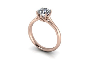 Forever One Round Brilliant Moissanite Cathedral Trellis Solitaire Engagement Ring