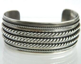 Vintage Sterling Silver Large Cuff Bracelet