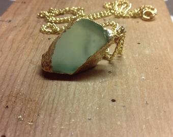 Light Blue Glass Gold-Foil Necklace