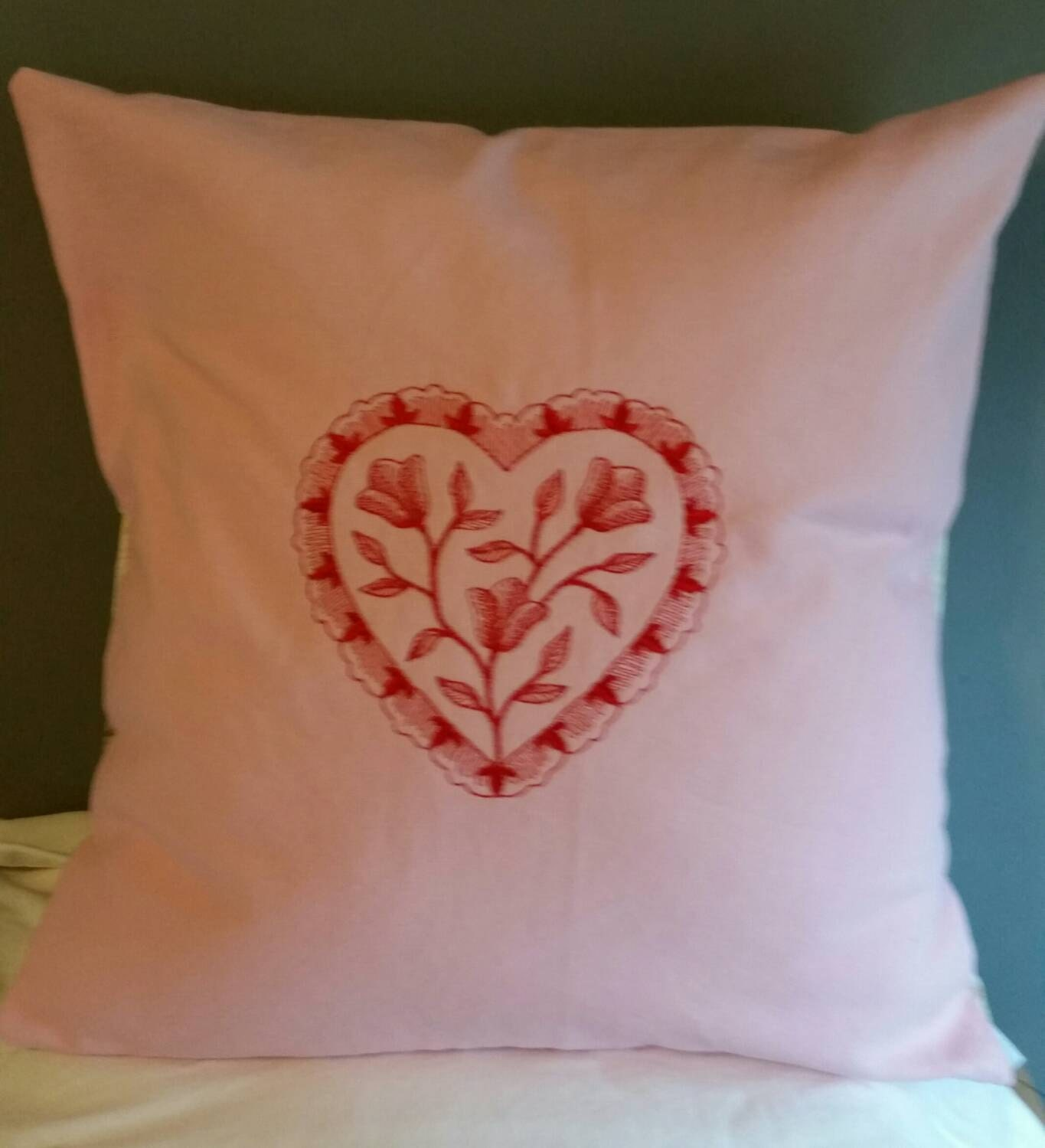 Personalized Butterfly Heart Throw Pillow Cover : heart embroidered flower back handmade throw pillow cover