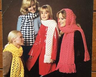 Patons Vintage Crochet Pattern Scarves
