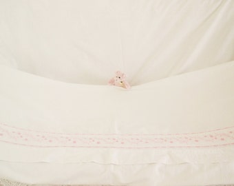 Vintage French cotton linen Metis sheet Vintage French linen sheet Pink floral Embroidered French linen single bed sheet Luxury French sheet