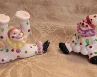 Vintage Salt and Pepper Shaker Clowns Made in Japan