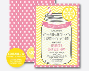 Instant Download, Editable Pink Lemonade Birthday Invitation, Pink Lemonade Invitation, Lemonade Party Invitation, Girl Invitation (SKB.37)