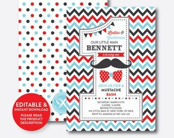 Instant Download, Editable Mustache Birthday Invitation, 1st Birthday Mustache Invitation, One Invitation, Little Man Invitation (SKB.27C)