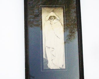 Vintage Framed White Cloaked Figure / Black and White with pinstriping around image / Simple Black banged up Frame