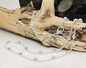 Delicate chain with 29 balls, silver 925