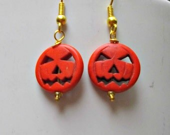 Halloween Earrings, Pumpkin Earrings, Jack O Lantern Earrings, Holiday Earrings, Halloween Jewelry, Halloween Pumpkin Jewelry. Fall Earrings