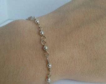 Sterling Silver White Pearl Bracelet