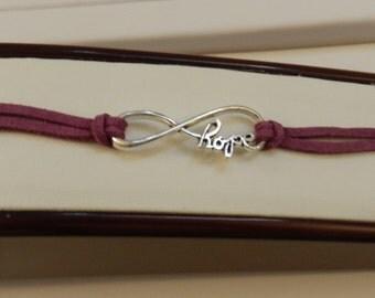 Silver Hope Purple Infinity Bracelet  V1