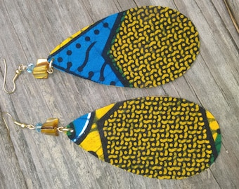 Tribal Blue Print Earrings