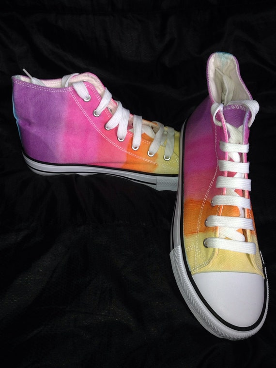 tie dye canvas shoes rainbow hi tops dyed baseball boots