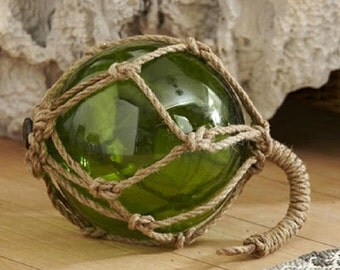 Vintage Green Glass Float Decor - Nautical Styling