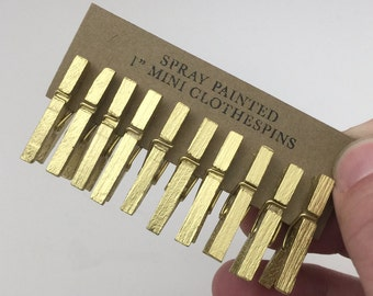 """1"""" Mini Clothespin - Metallic Gold - Painted - Qty 10"""
