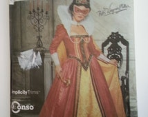 Renaissance costume womens masquerade ball gown 2000s sewing pattern, Bust 36 38 40 42, Size 14 16 18 20, Simplicity 9832, CarolJoyFashions