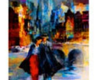 "22""x30"",Original oil painting,  New York couples."