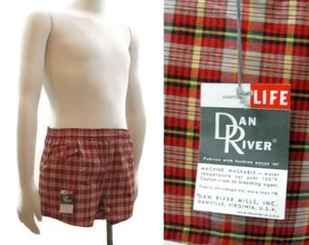Vintage Mens Swim Trunks 50s Red Plaid Dan River Shorts Swimsuit M