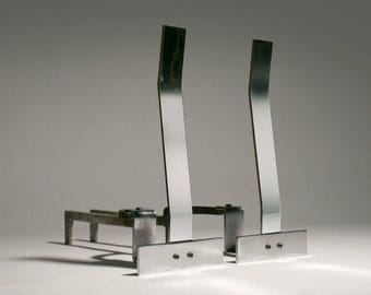 Pair Mid Century Modern Alessandro Albrizzi Chrome Andirons