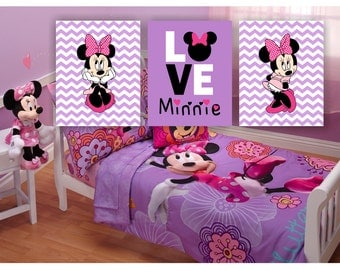 Minnie Mouse Room Decor, Love Minnie, Purple Pink Minnie Girl Room Playroom  Decor Prints