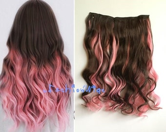 Dark Brown Mixed with Pink Two Colors Ombre Highlight Hair Extension, Synthetic Clip in Hair extensions UF251